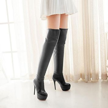 Slim Stiletto Heel Platform Over the Knee Boots for Women 3291