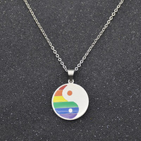 \LGBT Rainbow Necklace Titanium Steel Tai Chi