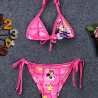 2017 Toddler Baby Girls Kids Child Minnie Cartoon Swimwear Tankinis Bikini Set Swimsuit