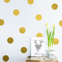 "Polka Dot Wall Decal / Large Polka Dot Decal / Gold Polka Dot Decal / 4"" Dot Decal / Kids wall decal / baby room decal"