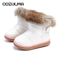 COZULMA Winter Fashion Child Girls Snow Boots Shoes Warm Plush Soft Bottom Baby Girls Boots Leather Winter Snow Boot For Baby