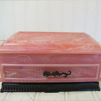 Vintage Ornate Asian Rose Pink Plastic Jewelry Box - Retro Jewelers Two Level Display Case - Mid Century Deltah Pearls Presentation Gift Box