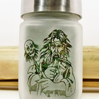Wizard with Skull Scepter Etched Glass Stash Jar & Herb Kitchen Storage by Twisted420Glass