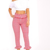 Keren Red Gingham Frill Hem Trousers
