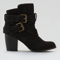 AEO Buckle Heeled Boot, Black