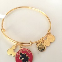 Disney Alex and Ani It All Started With a Mouse Gold Charm Bangle Bracelet