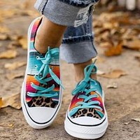 New winter casual flat bottom tie-dye color matching leopard print couple canvas shoes rainbow gradient shoes lake blue orange&red