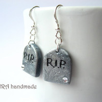 Halloween autumn RIP tombstone with rhinestones earrings