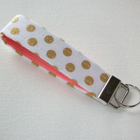 Key FOB / KeyChain / Wristlet key strap - Metallic gold dots on white with coral - gift for her under 10