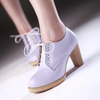 Lace Up Women Pumps High Heels Platform Jelly Shoes Woman