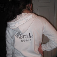 Bride Bridal Hoodie with Wedding Date Hooded Embroidered Sweatshirt Soon to be Future Mrs.