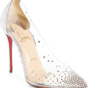 Christian Louboutin Degrastrass Clear Embellished Pump (Women) | Nordstrom