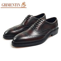 Men Dress Shoes Genuine Leather Brown Formal Shoes