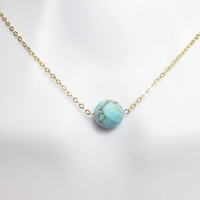 Turquoise, onion stone, onion, turquoise, circle, round, small, stone, necklace, gift, tiny, stone, necklace, small, dainty, cute, jewelry