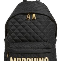 Moschino Quilted Nylon Logo Backpack - Black