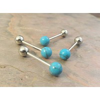 Turquoise Stone Tongue Barbell Piercing