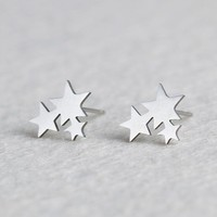 Fine Lovely Silver Stainless Steel Animal Heart Star Moon Stud Earrings for Women Korean Minimalist Earrings Jewelry Accessories