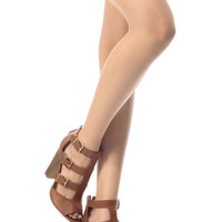 Chestnut Faux Leather Triple Buckle Peep Toe Chunky Heels