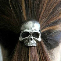 Gothic Punk Fancy Dress Cosplay Skull Hair Band Cuff Wrap Ponytail Holder E5128