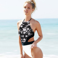 Pure Color Printed Backless Bikini Swimwear