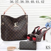 LV  new women's high-quality exquisite three-piece F-KSPJ-BBDL coffee Print bag