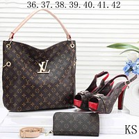 LV 2018 new women's high-quality exquisite three-piece F-KSPJ-BBDL coffee Print bag