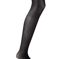 FOREVER 21 Chevron-Textured Tights Black