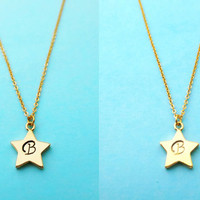 Initial, Golden, Star, Simple, Dainty, Necklace, Italic, Font, Initial, Necklace, Birthday, Gift, Bridal, Bridesmaids, Gift, Jewelry