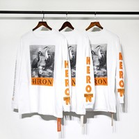 Heron Preston ctnnb cotton Men Women Long T-shirts Crane harajuku hip hop tops kanye west fear of god t shirts men clothes coat