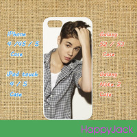 Justin Bieber-- iPhone 4 case , iphone 5 case , ipod touch 4 / 5 case, samsung galaxy S3 / S2 case in black or white