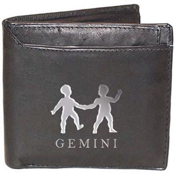Men's Leather Wallets with Gemini Zodiac Sign