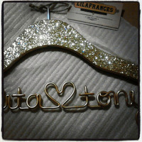 Gatsby Themed Sparkle Wedding Hanger, Personalized, Custom Hanger, Bride Hanger, Name Hanger, Bridal Gift, Glitter Wood
