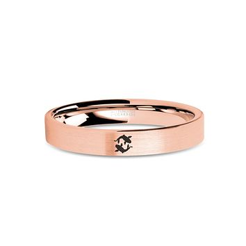 Koi Fish Engraved Tungsten Rose Gold Wedding Band, Brushed