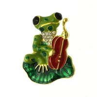 Caitie Cello Playing Frog Brooch