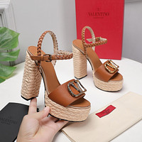 Valentino Women's Fashion Trending Leather High Heels Shoes Sandals Heel 08035