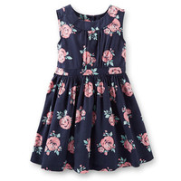Sateen Floral Print Dress