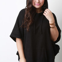 Hoodie Ribbed Marl Knit Poncho Top
