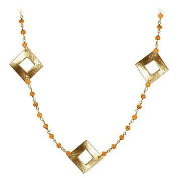 """CHG-202-CN-18"""" 18K Gold Overlay Necklace With Carnelian"""