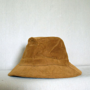 VINTAGE CORDUROY BUCKET Hat Brimmed Classic Burnt Umber Brown Unisex Hat Size Xl X Large