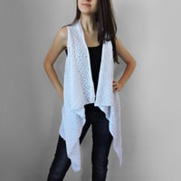 FREE SHIPPING Pure cotton vest Knitted white long vest Spring summer vest Lace stitch Multi size Plus size overcoat Extra large S- XXXL