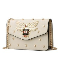 Bee embellished with rhinestones & rivets leather purse