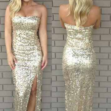 Sequin Sparkly Strapless Prom Dresses
