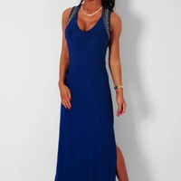 Icicle Blue Embellished Cut Out Maxi Dress   Pink Boutique