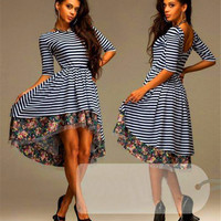 Free Shipping Fashion Women Lady O Neck Long Sleeve Splicing Floral A-Line Strip Sexy Slim Long Lace Dress