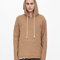 Single Layer Reversed French Terry Hoodie in Camel