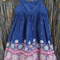 Gap Kids Girl's XS 4 5 Indigo Blue Batik Bohemian Mandala Sleeveless Sun Dress