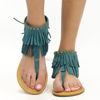 Teal Fringe Ankle Sandals Flat Gold Studded Pretty Suede Indian Summer Fashion