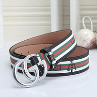 GG Fashion Smooth Buckle Leather Belt