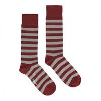 Dr. Martens Grey / Cherry Red Thin Stripe Socks