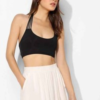 Out From Under Multi-Strap Halter Bra Top- Black